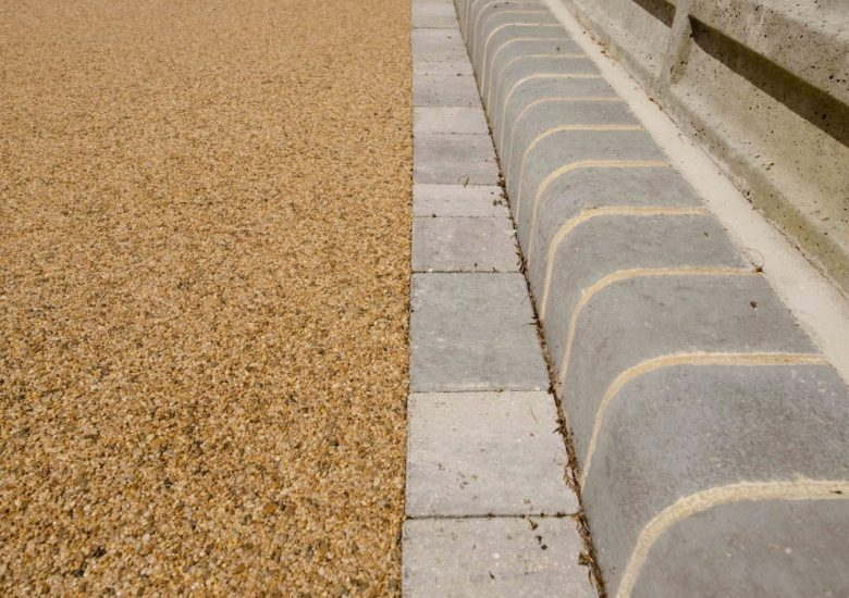 Driveway with Golden Glow Resin (UV Stable) and Block Edging