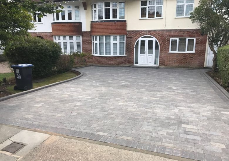 Cool Grey Block Paving Drive by Diamond Services