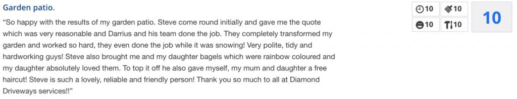 Diamond Driveways Checkatrade review
